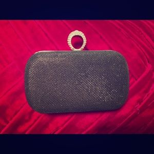 Black gala glam clutch party diamond handle